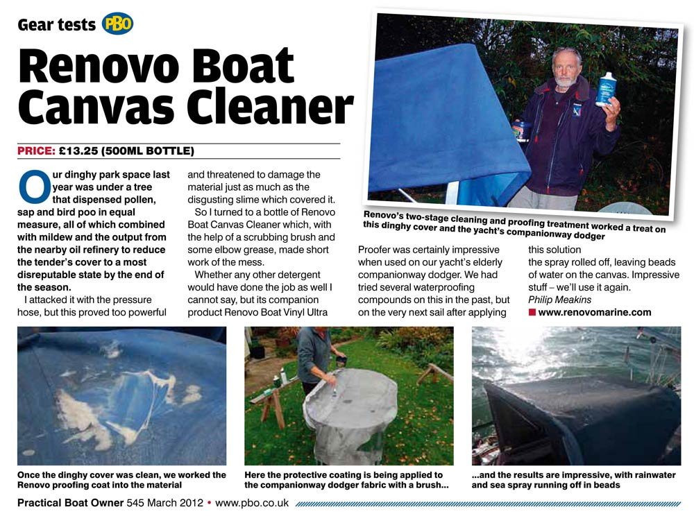 March 2012 Practical Boat Owner - Boat canvas cleaner review  sc 1 st  Renovo Marine & Boat Valeting Supplies Testimonials